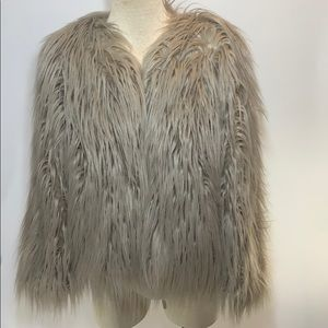 Groovy baby shaggy Faux Fur coat size 8